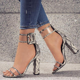 Clear Strappy Buckle Sandal Heels