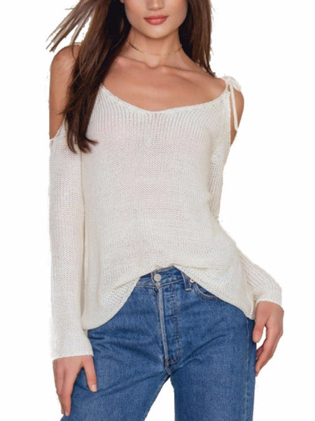 Cold Shoulder Knitted Light Sweater