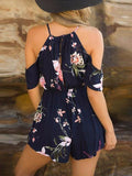 Navy Cold Shoulder Floral Romper