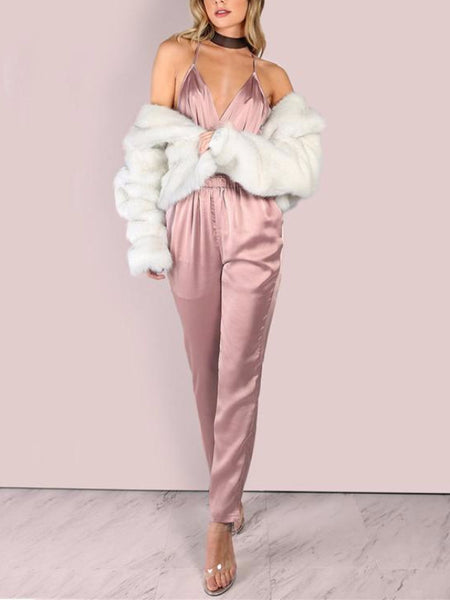 Dusty Pink Silky Satin Slip Jumpsuit