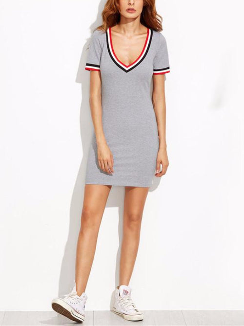 Grey Sporty Mini T Dress