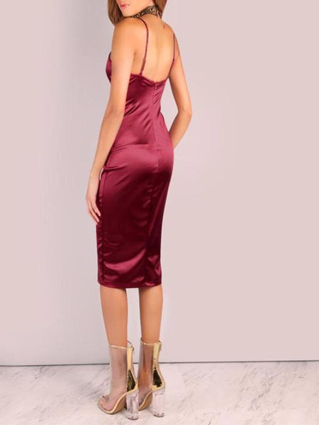 Burgundy Satin Midi Dress