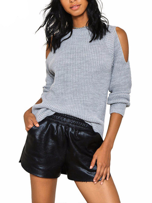 Knitted Cold Shoulder Pullover