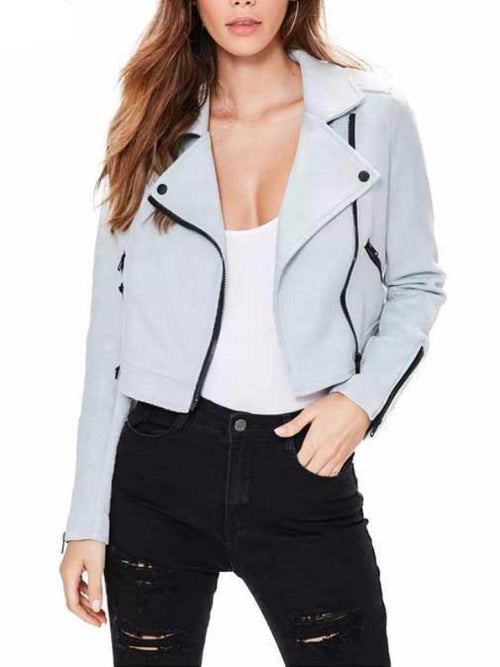 Faux Leather Zipper Biker Jacket