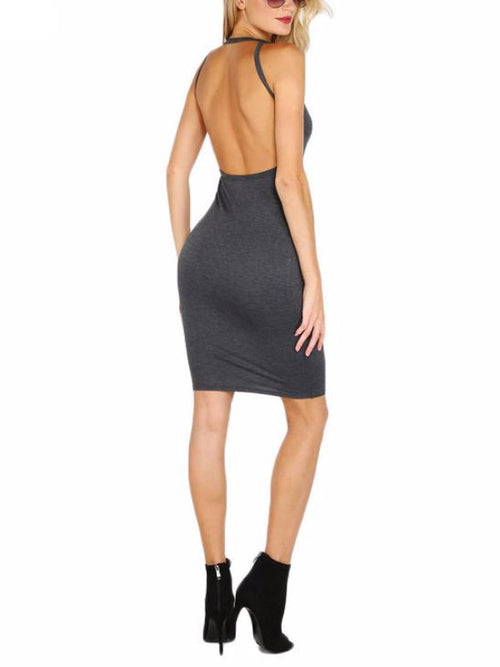 Open Back Halter Bodycon Dress