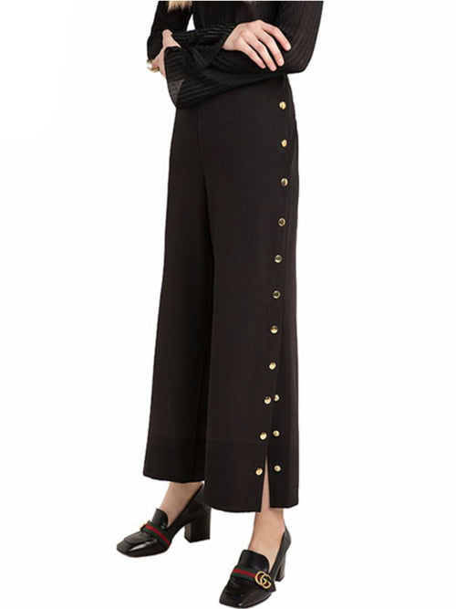 Black Vintage Side Split Palazzo Pants