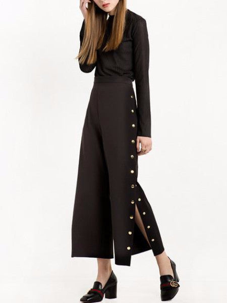 Black Button Up Palazzo Pants