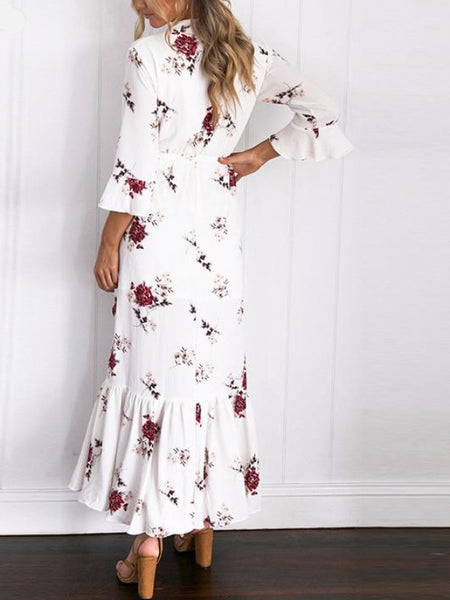 Floral Long Sleeve Wrap Dress