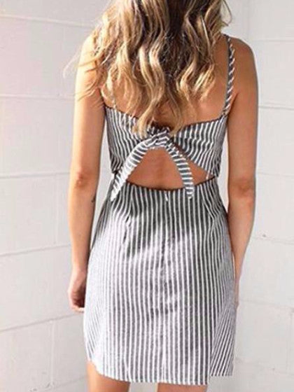 Gray Striped Tie Back Dress