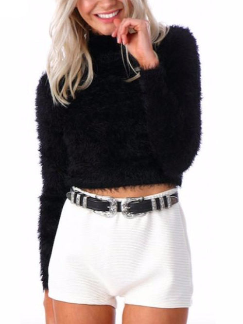 Solid Black High Collar Crop Sweater