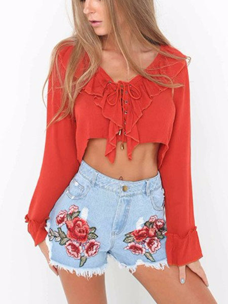 Lace Up Crepe Crop Top