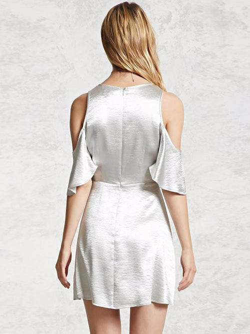 Silver Cold Shoulder Wrap Dress