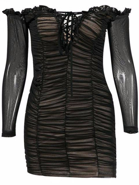 Ruched Mesh Mini Dress