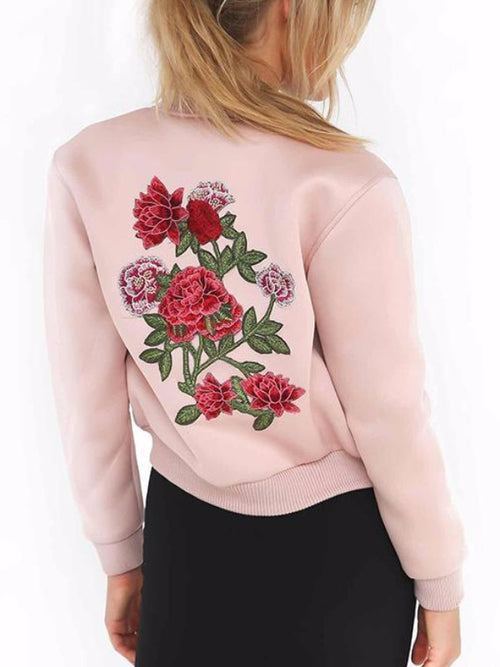 Pink Satin Embroidery Bomber Jacket