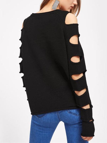 Slash Sleeve Knitted Sweater