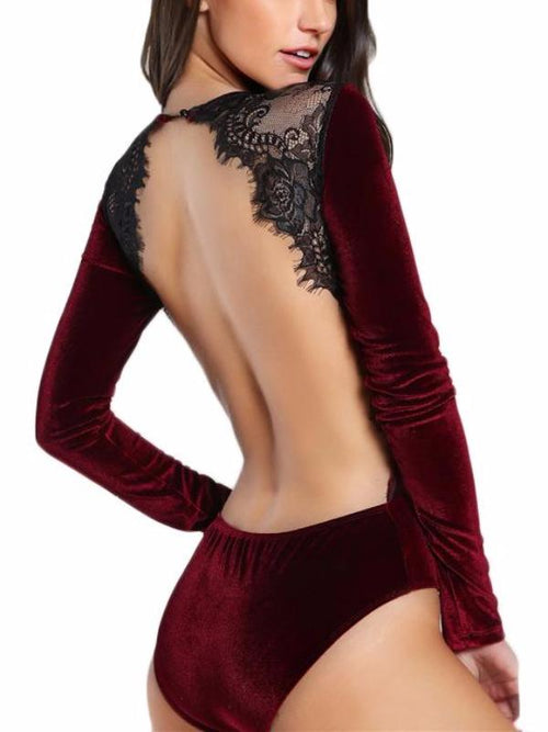 Red Backless Lace Panel Bodysuit