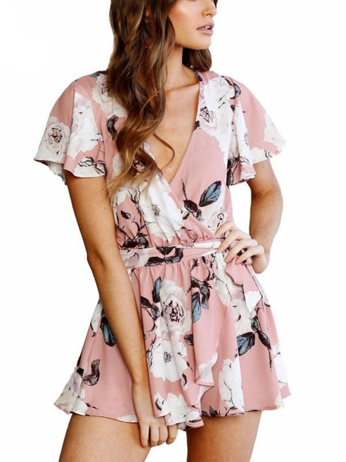 Pink Fluff Sleeve Playsuit