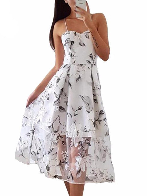 Sweet Floral Gauze Midi Dress