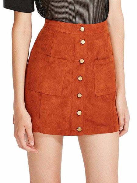 Faux Suede Button Mini Skirt