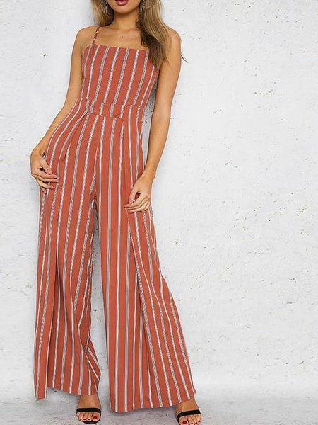 Brick Red Striped Jumpsuit