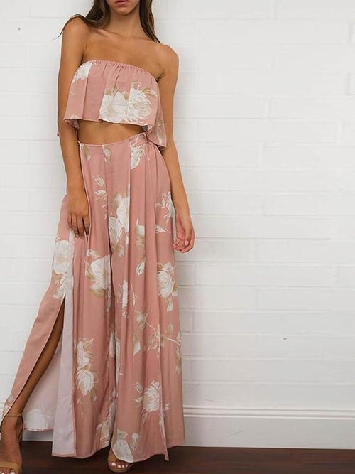 Salmon Two Piece Floral Jumpsuit