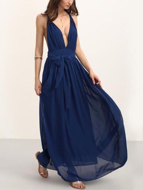 Navy Deep V Maxi Dress