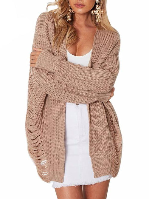 Ripped Knit Long Cardigan