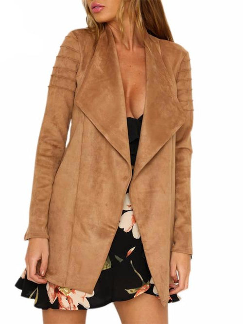 Faux Suede Long Jacket