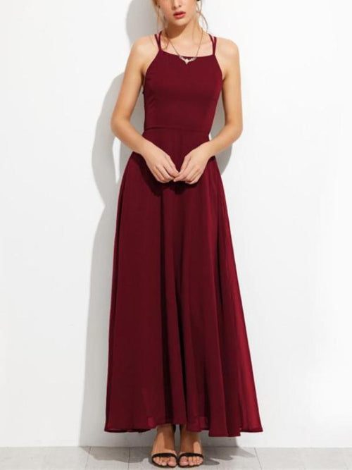 Lace Up Wine Red Maxi Dress