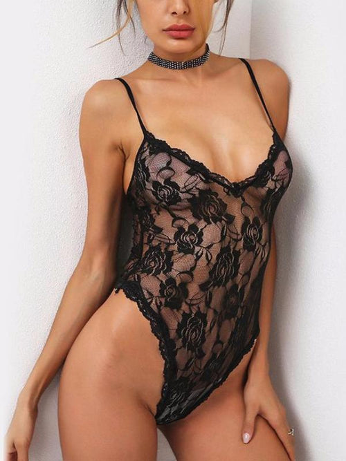 Retro Black Lace Bodysuit