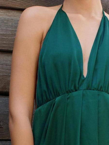 Emerald Green Satin Maxi Party Dress