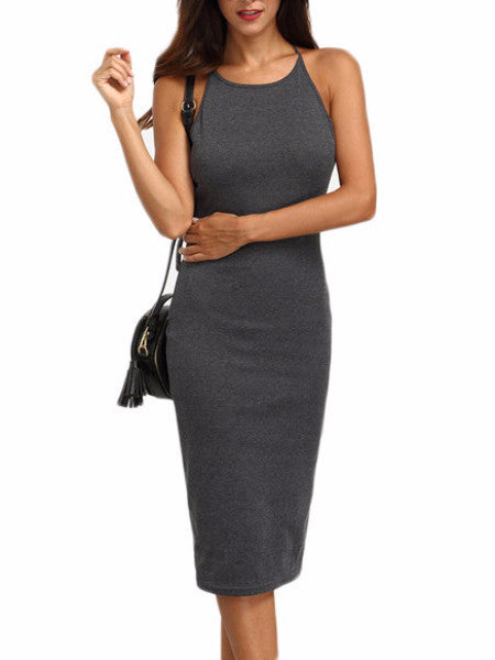 Grey Crisscross Backless Midi Bodycon Dress
