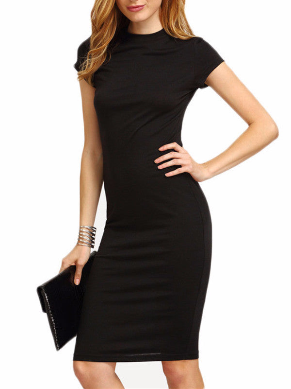Black Cap Sleeve Bodycon Dress Silkovermilk