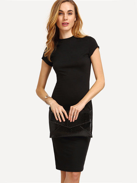 Black Cap Sleeve Bodycon Dress