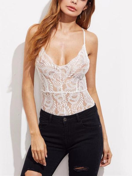 Romantic White Lace Bodysuit