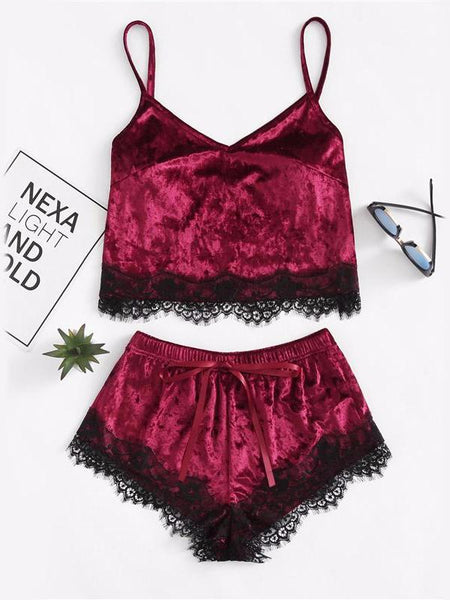 Burgundy Velvet Lounge Set