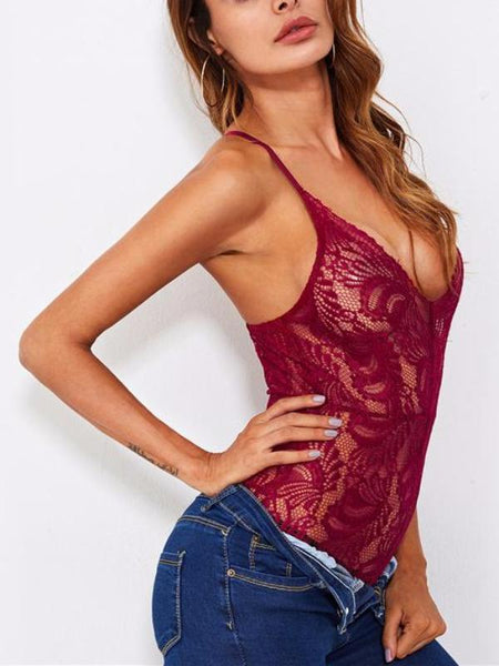 Romantic Red Lace Bodysuit