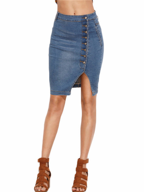 Asymmetric Button Front Slit Denim Skirt