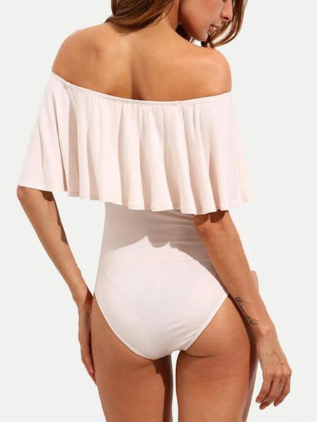 Apricot Off Shoulder Bodysuit