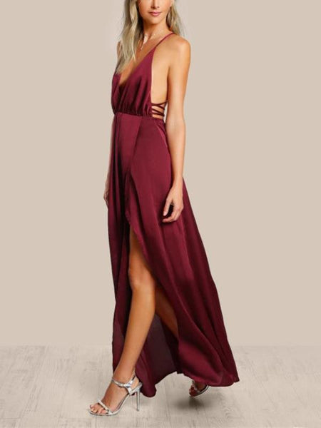 Burgundy Satin Maxi Dress