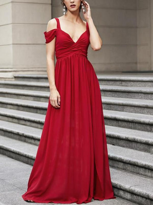 Red Ruched Maxi Dress
