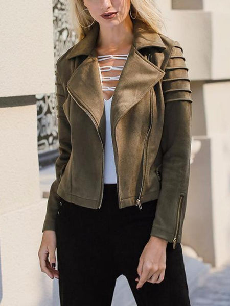 Faux Suede Pleated Jacket
