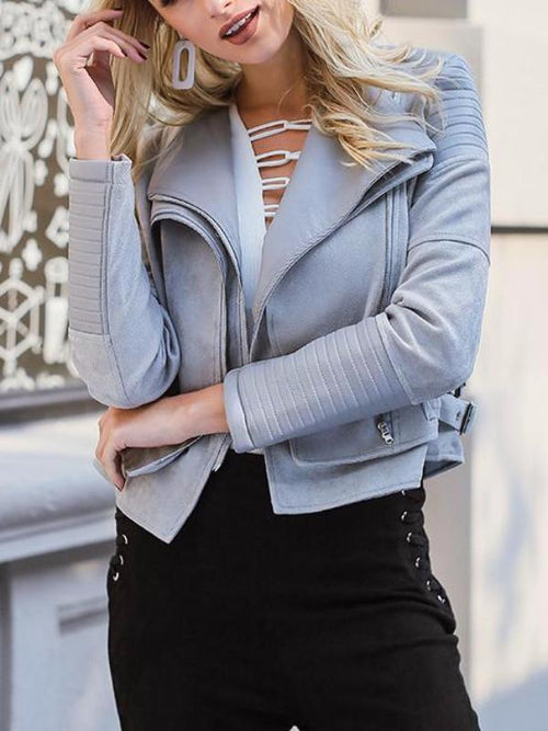Faux Suede Zipper Jacket
