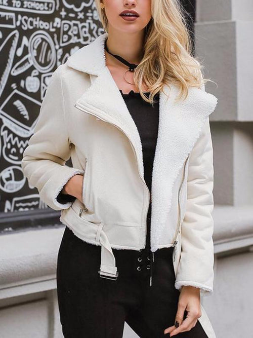 Ivory Faux Suede Shearling Jacket