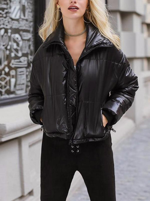 Puffy Faux Leather Jacket