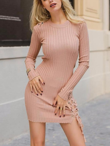 Pink Thigh Lace Up Dress