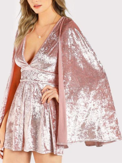Crushed Velvet Cape Playsuit