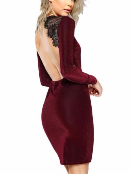 Lace Trim Velvet Dress