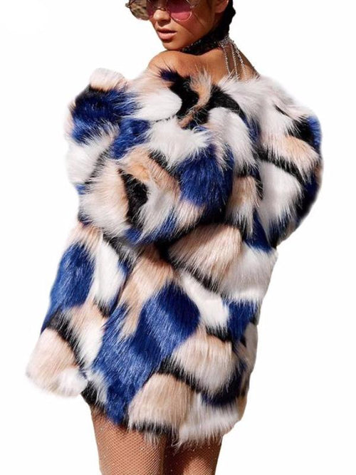 Blue Peach Faux Fur Coat
