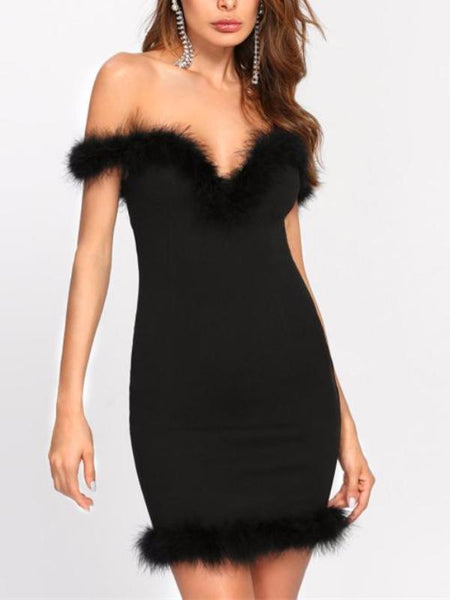 Faux Fur Sweetheart Dress